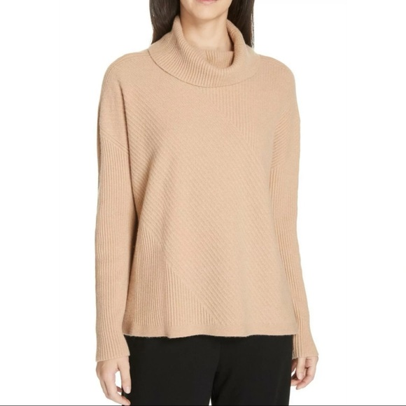 Eileen Fisher Cashmere Turtleneck Top Clay Small
